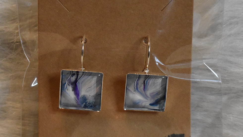 Lever back silver with soft blues and purple