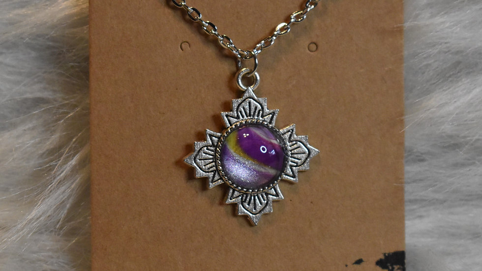 Antique silver with purple and gold