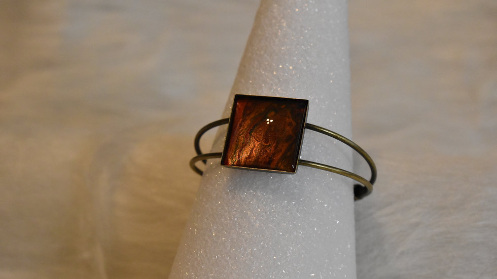 Solid Brass Cuff Bracelet with rich Amber Stone