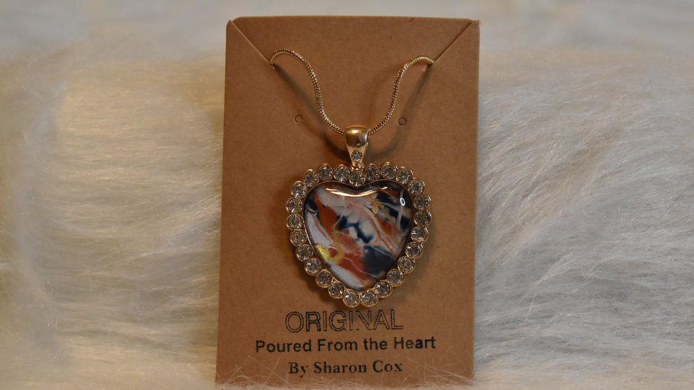 Heart Pendant with rhinestones set in gold