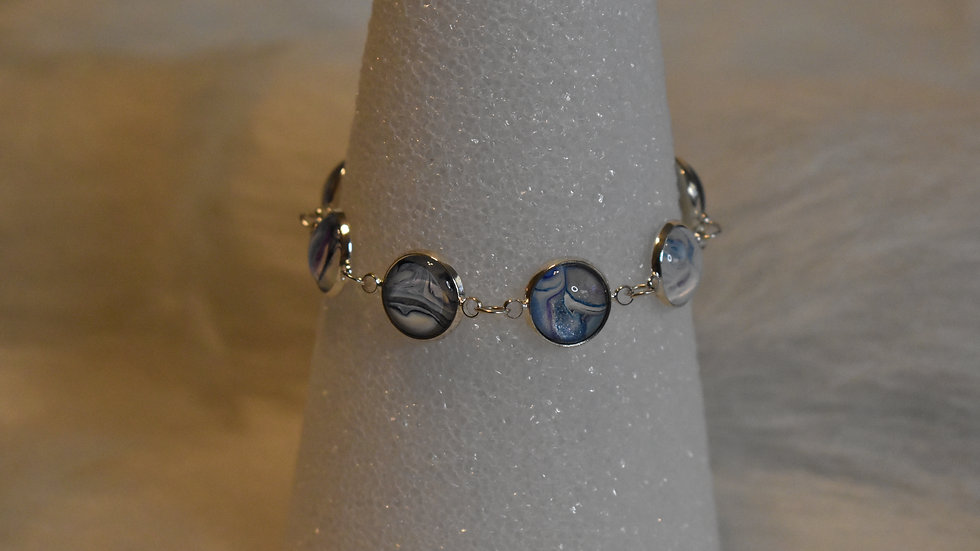 6 stone bracelet in silver