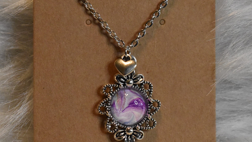 Antique Silver with purple