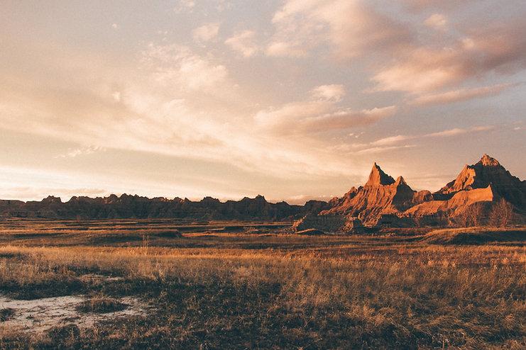 Mountains at sunset, Badlands National Park, South Dakota, USA
