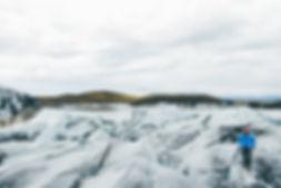 Person hiking Vatnajokull glacier, Iceland