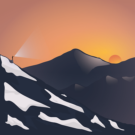 Graphic Illustraion of Mountains, Sunset