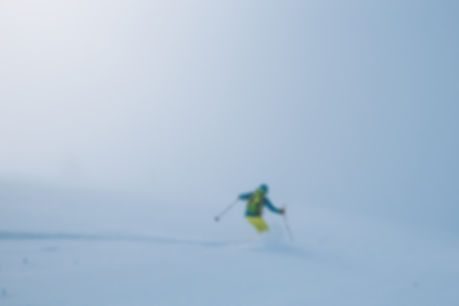 Skier in fog, French Alps