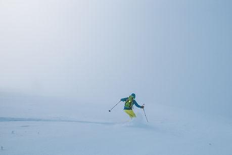 Skier in fog, French Alps