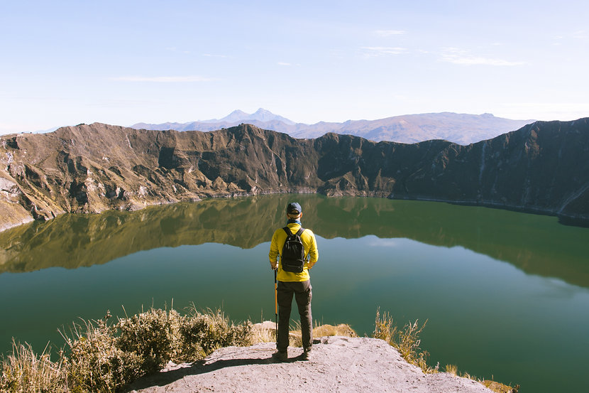Person watching the view, Quilotoa Loop, Ecuador