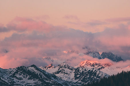 Mont Blanc et sunset, French Alps