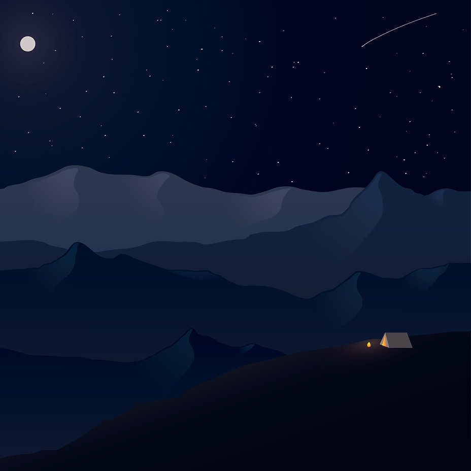 Graphic Illustraion of Mountains, Night, Campfire