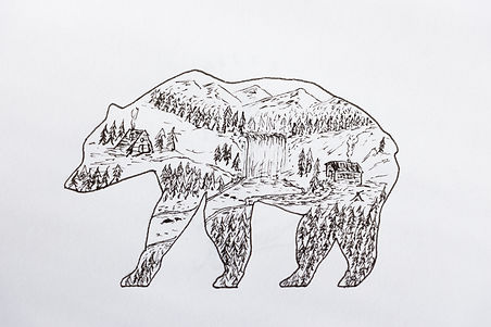 Drawing of Bear and Mountains