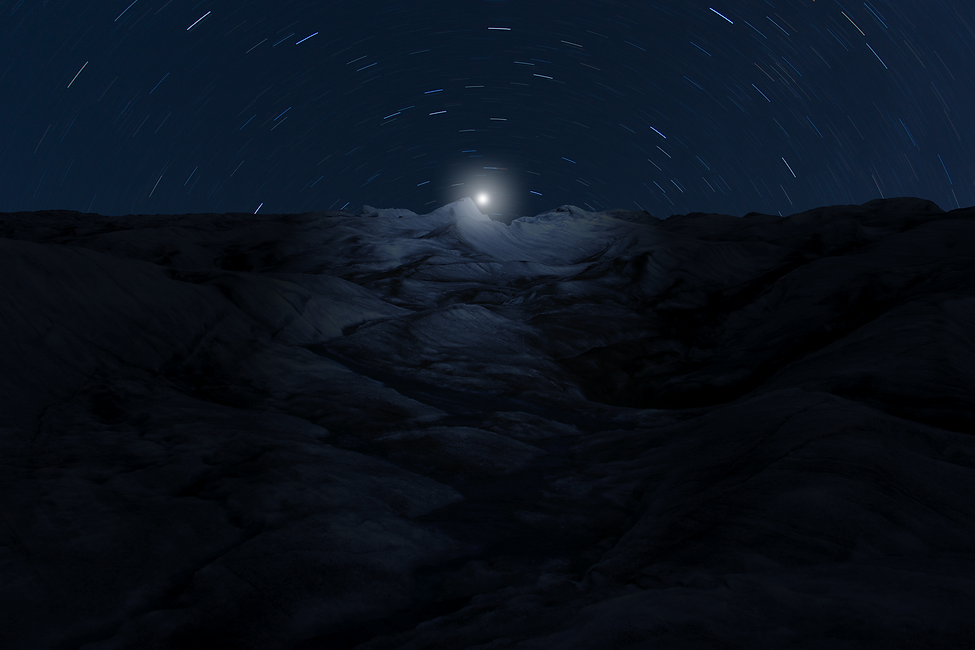 Composite Image of a Glacier at Night