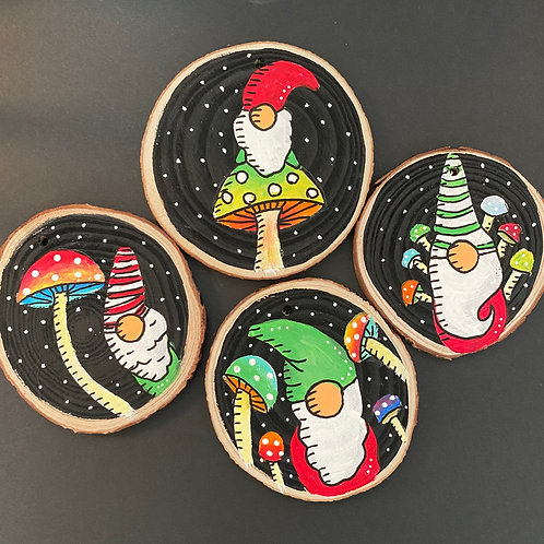 Mushroom Gnome Ornament Set of Four