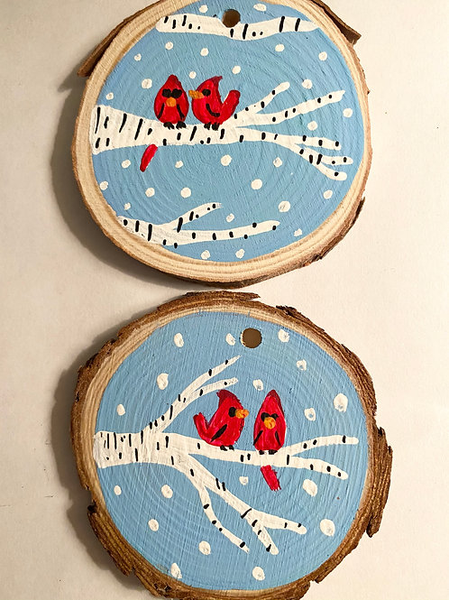 One Cardinal Ornament Hand Painted