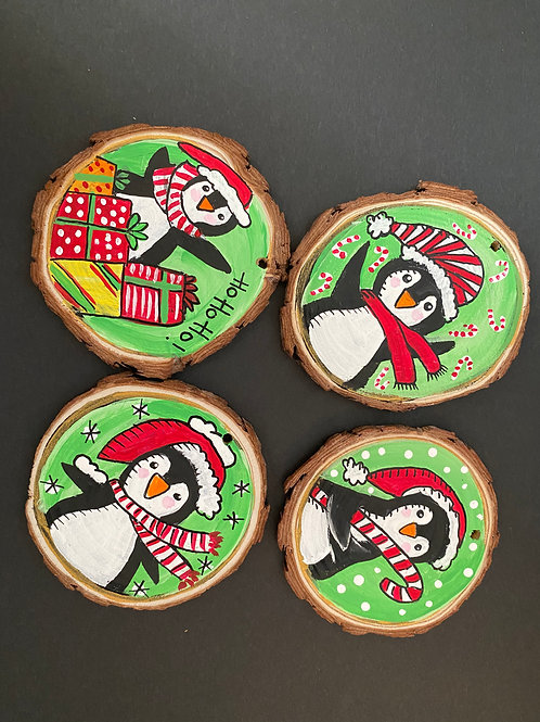 Penguins!!! Ornament Set of Four