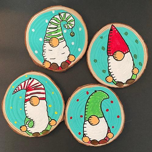 Polka-dot Gnome Ornament Set of Four