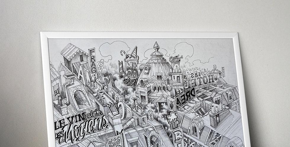 Oeuvre originale de Kafé Korsé - Les toits de Paris