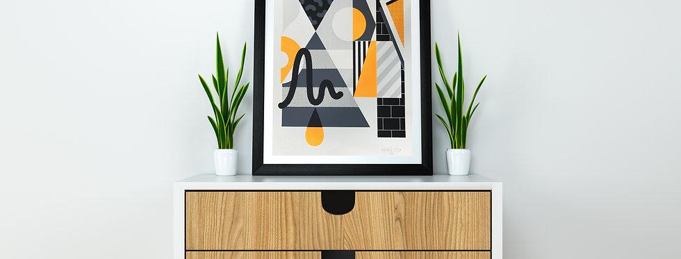 Xkuz - sérigraphie orange et noir