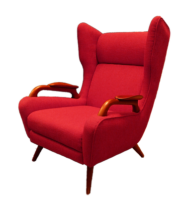 Red vintage winged armchair