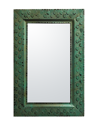 "'Molly"" Green Metal Mirror"