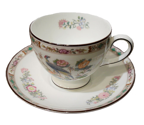 'Kutani Crane' Vintage Teacup and Saucer by Wedgwood