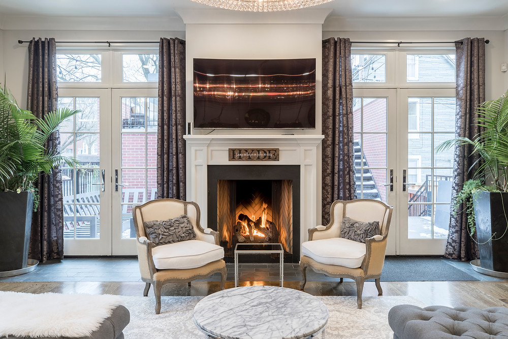 Vintage armchairs with fireplace