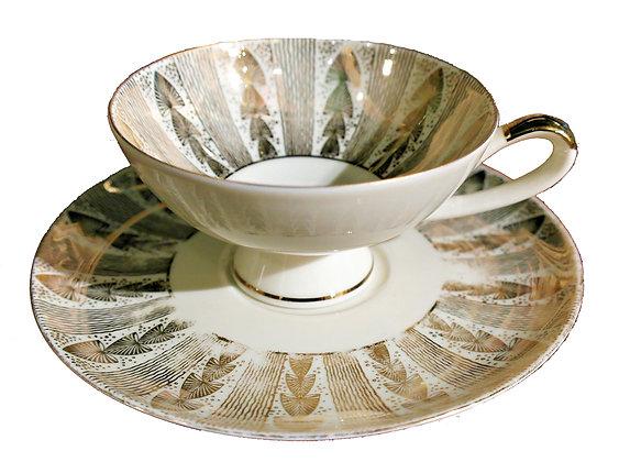 'Golden Fan' Vintage Teacup and Saucer