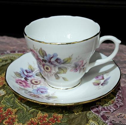 'Bouquet' Vintage Teacup with Saucer