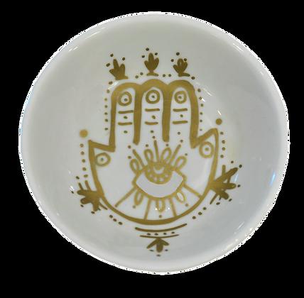 'Hamsa' Mini White Decor Plate