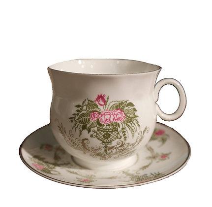 'Green Vase' Vintage Teacup and Saucer