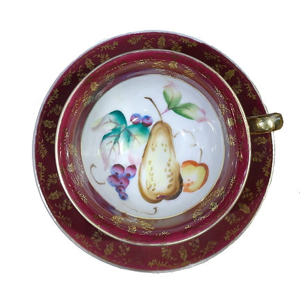 'Fruits' Vintage Teacup with Saucer