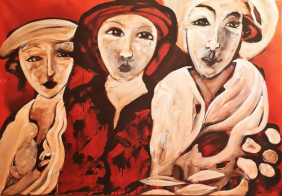 Oil painting by Britt Bourtos Ghali (Three Ladies)