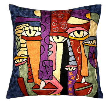 Abstract Silk Embroidered Cushion Cover