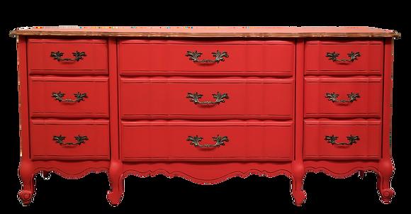 'Gene' Red Cherry Wood Dresser