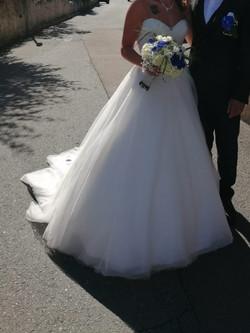 Bouquet de mariée blanc et bleu