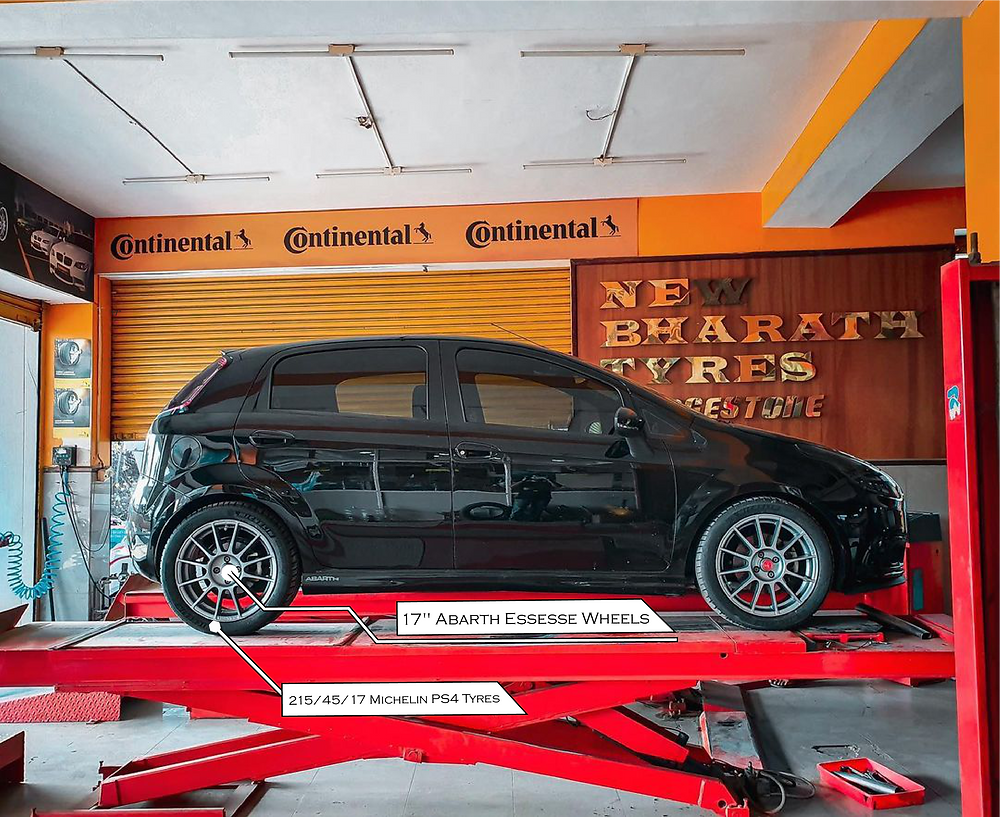 """Modified Fiat Abarth Punto with 17"""" Abarth Essesse Wheels in 215/45/17 Michelin PS4 Tyres"""