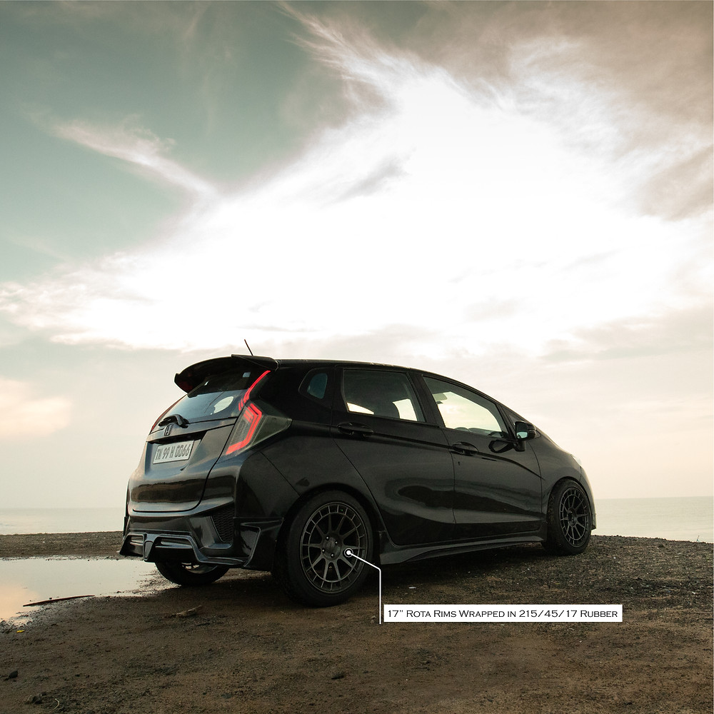 "Modified Honda Jazz with 17"" Rota Rims Wrapped in 215/45/17 rubber"