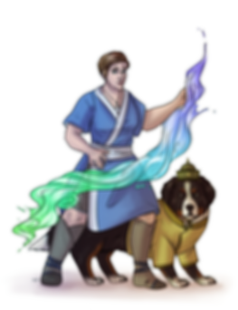 Drawing of Shipyarn as a waterbender and her Earth Nation canine compation Pico.