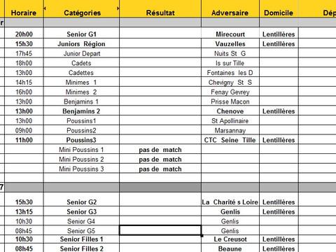 matches du 11 au 12 février