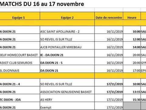 Les matches du 16 au 17 novembre