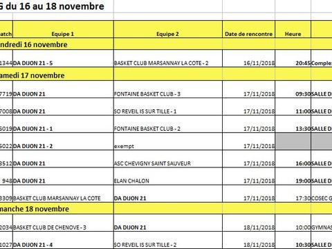 les matches du 16 au 18 novembre