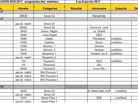 programme matches du 6 au 8 janvier 2017