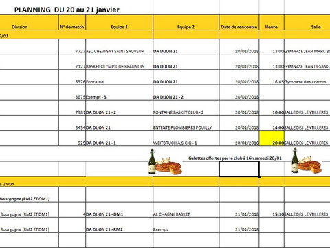 programme week end du 20 et 21 janvier