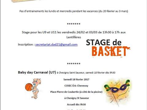 Info école de Basket et stage vacances de février