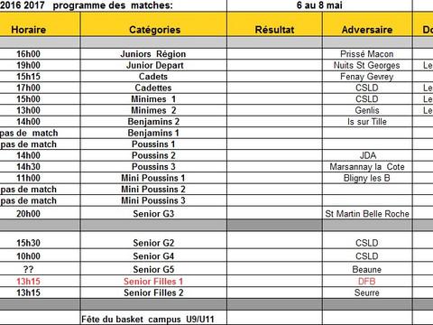 Programme matches du 6 au 8 mai