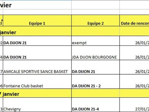 Les matches du 26 - 27 janvier