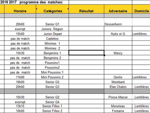programme matches 26 - 27 novembre
