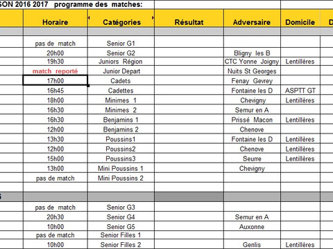 programme matches 19 au 20 novembre