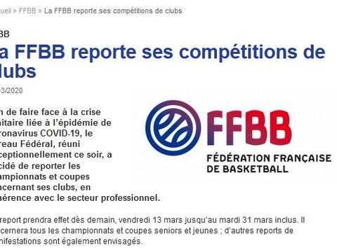 report de toutes les compétitions FFBB