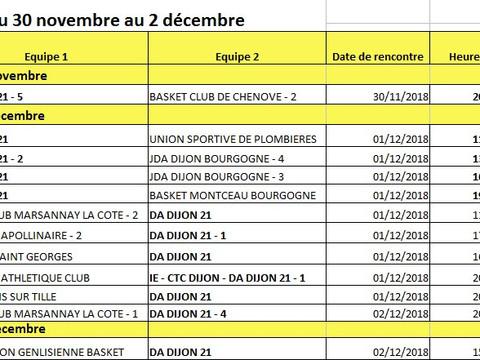 matches du 30 novembre au 2 décembre